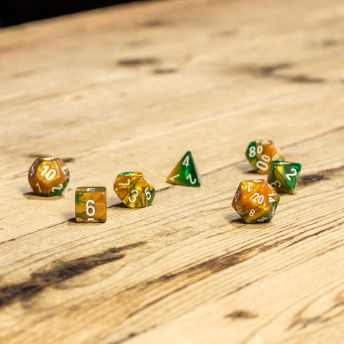 Chessex #26425 - Gemini Gold-Green / White Polyhedral (7ct)