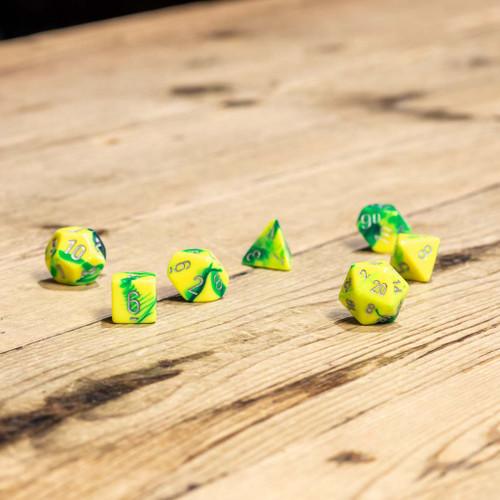 Chessex #26454 - Gemini Green-Yellow / White Polyhedral (7ct)