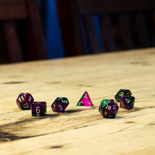 Chessex #26434  - Gemini Green-Purple / Gold Polyhedral (7ct)