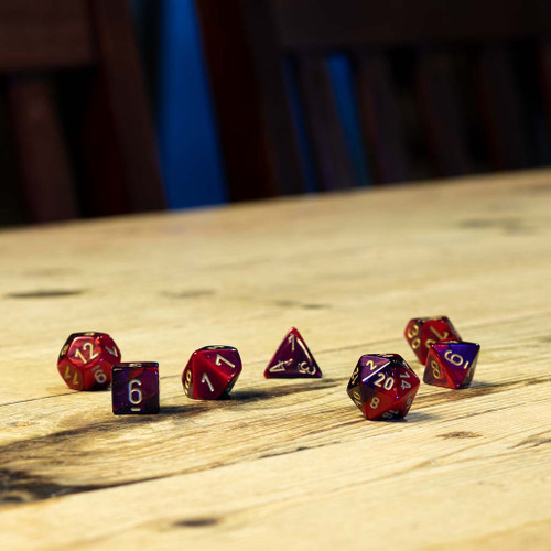 Chessex #26426 - Gemini Purple-Red / Gold Polyhedral (7ct)