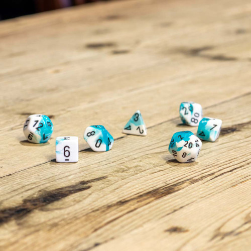 Chessex #26444 - Gemini Teal-White / Black Polyhedral (7ct)