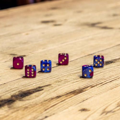 Chessex #26628 - Gemini Blue-Purple / Gold d6 (12ct)