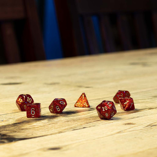Chessex #27504 - Glitter Ruby / Gold Polyhedral (7ct)