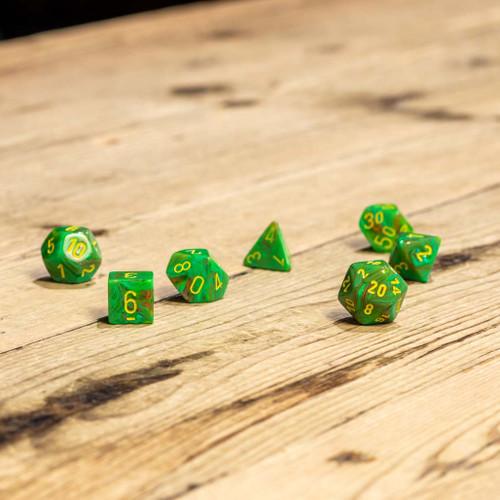 Chessex #27515 - Vortex Slime / Yellow Polyhedral (7ct)