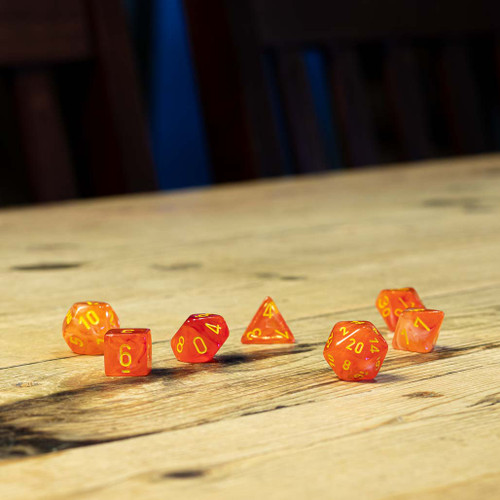 Chessex #27523 - Ghostly Glow Orange / Yellow Polyhedral (7ct)