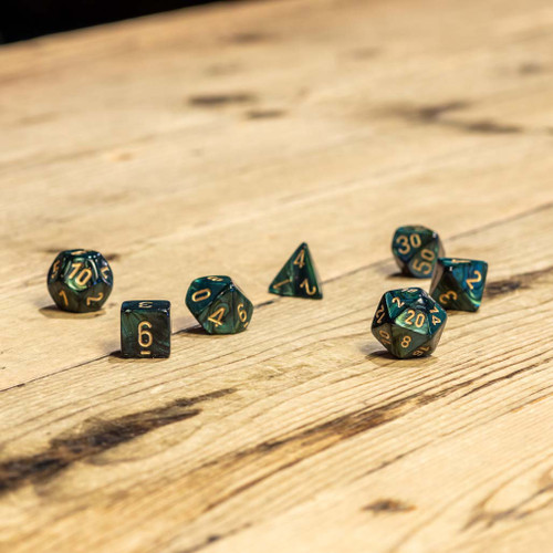 Chessex #27415 - Scarab Jade / Gold Polyhedral (7ct)