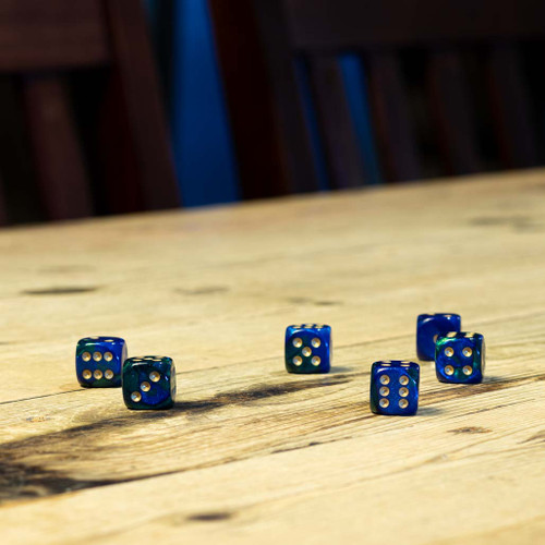 Chessex #26636 - Gemini Blue-Green / Gold d6 (12ct)