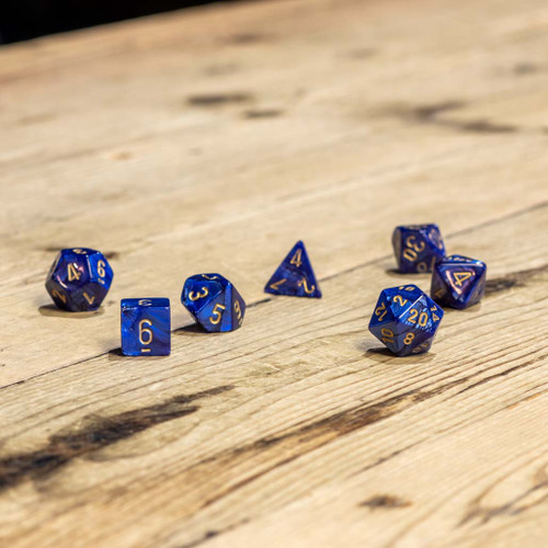 Chessex #27427 - Scarab Royal Blue / Gold Polyhedral (7ct)