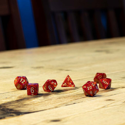 Chessex #27414 - Scarab Scarlet / Gold Polyhedral (7ct)