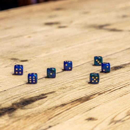 Chessex #26836 - Gemini Blue-Green / Gold d6 (36ct)