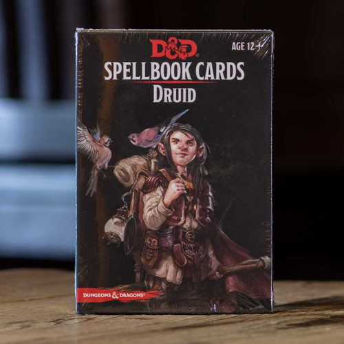 Mox Boarding House | Front of the D&D Druid Spellbook cards, featuring spells and abilities.