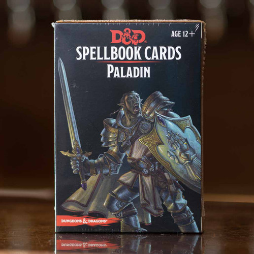 Mox Boarding House | Front of the D&D Paladin Spellbook cards, featuring spells and abilities.