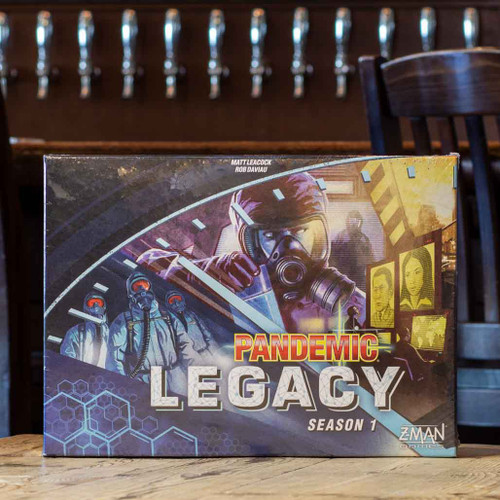 Mox Boarding House | Front of blue variant of Pandemic Legacy Season 1, a cooperative game for two to four players.