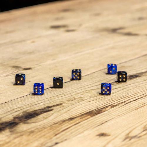 Chessex #26835 - Gemini Black-Blue / Gold d6 (36ct)