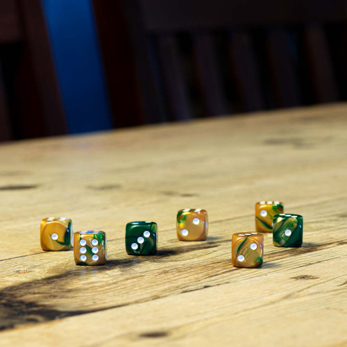 Chessex #26625 - Gemini Green-Gold / White d6 (12ct)