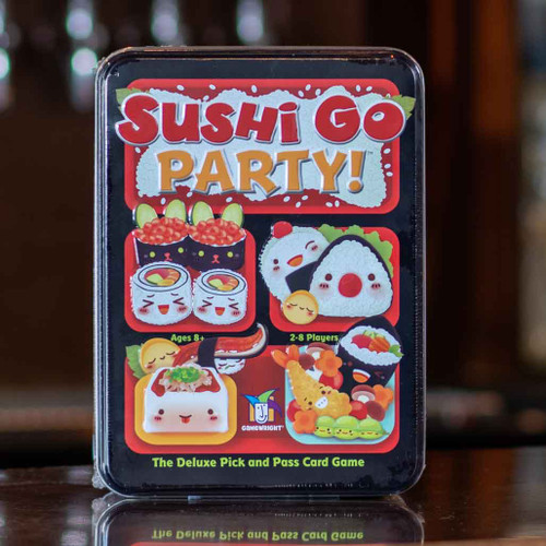 Mox Boarding House | Front of Sushi Go Party!, a drafting game for two to eight players.
