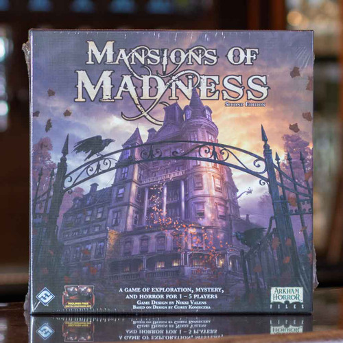 Mox Boarding House | Front of Mansions of Madness, a cooperative horror game for one to five players.