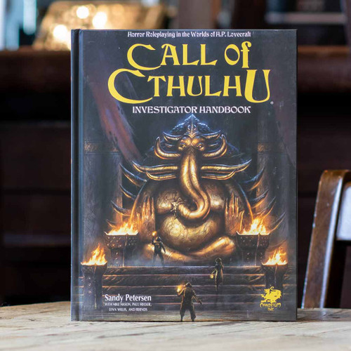 Mox Boarding House | Front cover of the Call of Cthulhu Investigator Handbook, with expansive player options.