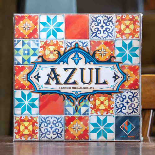 Mox Boarding House | Front cover of Azul, a 2-4 player tile placement game