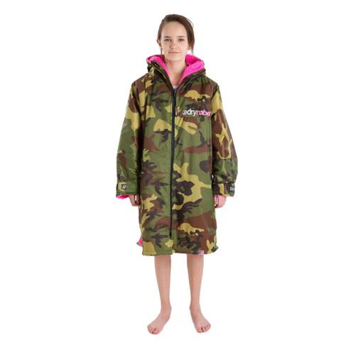Dryrobe Kids 10-14 Years Long Sleeve Camo Pink