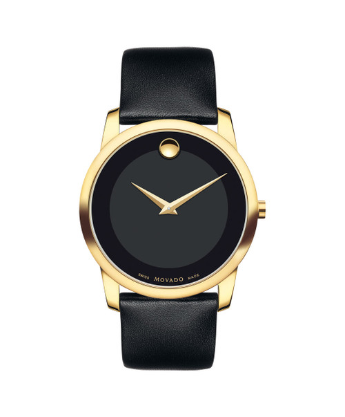 Museum Classic  Men's Museum Classic watch, 40 mm yellow gold PVD-finished stainless steel case, black Museum dial with tone-on-tone outer ring and gold-toned dot and hands, black calfskin strap with yellow gold PVD-finished stainless steel buckle.