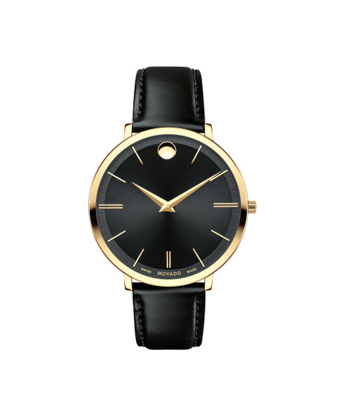 Mid-size Movado Ultra Slim watch, 35 mm yellow gold PVD-finished stainless steel case, 5.85 mm thin; black CD-cut dial with fine concentric-circles texture, yellow gold-toned signature dot and thin applied stick markers; black calfskin strap with matching top-stitching and yellow gold PVD-finished stainless steel classic tongue buckle.