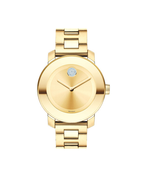 Midsize Movado BOLD watch, 36 mm yellow gold ion-plated stainless steel case, K1 crystal with a ring of highly reflective yellow gold-toned metallization, yellow gold-toned sunray dial with clear crystal-set dot and yellow gold-toned hands, yellow gold ion-plated stainless steel link bracelet with deployment clasp.