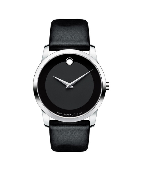Men's Museum Classic watch, 40 mm stainless steel case, black Museum dial with tone-on-tone outer ring and silver-toned dot and hands, black calfskin strap with stainless steel buckle.