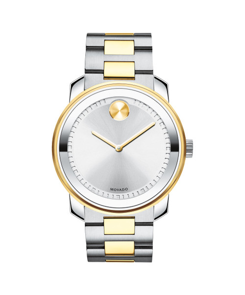 Large Movado BOLD watch, 42.5 mm stainless steel and yellow gold ion-plated case, K1 crystal with a ring of highly reflective silver-toned metallization, silver-toned dial with stamped hour/minute index and yellow gold-toned hands and sunray dot, , stainless steel and yellow gold ion-plated link bracelet with push-button deployment clasp.