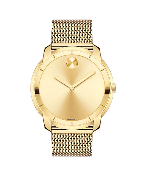 Large Movado BOLD watch, thin 44 mm yellow gold ion-plated stainless steel case, K1 crystal with a ring of gold-toned metallization with gold-toned hour index, gold-toned sunray dial with matching sunray dot and hands, yellow gold ion-plated stainless steel mesh-link bracelet with mesh-textured back sizing links, deployment clasp.