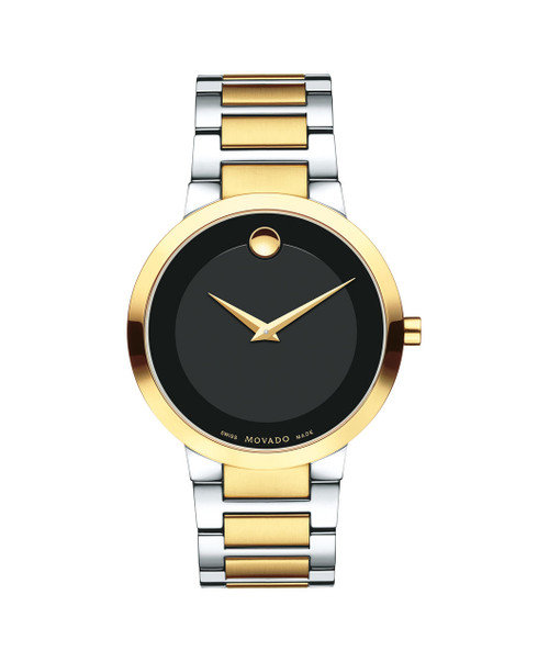 Men's Modern Classic quartz watch, 39.2 mm stainless steel and yellow gold PVD-finished case, black Museum dial with tone-on-tone outer ring and yellow gold-toned dot and hands, stainless steel and yellow gold PVD-finished link bracelet with push-button deployment clasp.