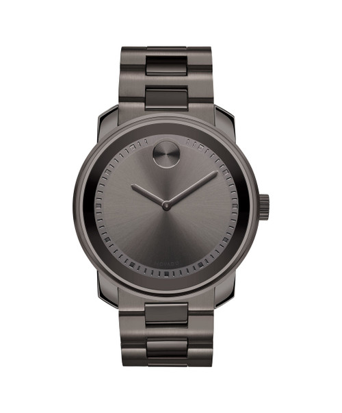 MOVADO Movado BOLD3600259 – 42.5 mm Metals bracelet watch - Front view MOVADO Movado BOLD3600259 – 42.5 mm Metals bracelet watch - Side view MOVADO Movado BOLD3600259 – 42.5 mm Metals bracelet watch - Back view ZOOM MOVADO BOLD  (4) READ REVIEWS Large Movado BOLD watch, 42.5 mm gunmetal grey ion-plated stainless steel case, K1 crystal with a ring of highly reflective gunmetal grey metallization, gunmetal grey dial with matching sunray dot, hands and stamped hour/minute index, gunmetal grey ion-plated stainless steel link bracelet with push-button deployment clasp.