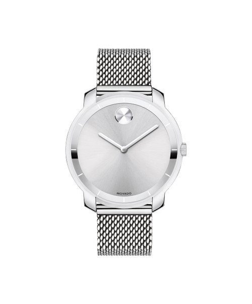 Midsize Movado BOLD watch, thin 36 mm stainless steel case, K1 crystal with a ring of highly reflective silver-toned metallization with white hour index, silver-toned sunray dial with matching sunray dot and hands, stainless steel mesh-link bracelet with mesh-textured back sizing links and deployment clasp.
