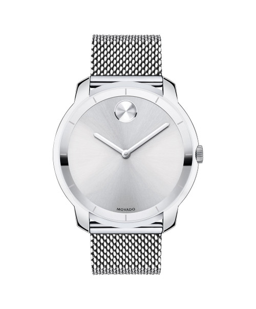 Large Movado BOLD watch, thin 44 mm stainless steel case, K1 crystal with a ring of highly reflective silver-toned metallization with grey hour index, silver-toned sunray dial with matching sunray dot and hands, stainless steel mesh-link bracelet with mesh-textured back sizing links and deployment clasp.