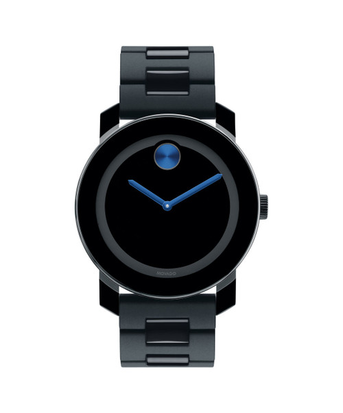 Large Movado BOLD watch, 42 mm black TR90 composite material and stainless steel case, black dial with cobalt blue sunray dot and hands, black TR90, black polyurethane and stainless steel link bracelet with deployment clasp.