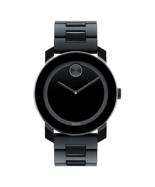 Large Movado BOLD watch, 42 mm black TR90 composite material and stainless steel case, black dial with matching sunray dot and hands, black TR90, black polyurethane and stainless steel link bracelet with deployment clasp.