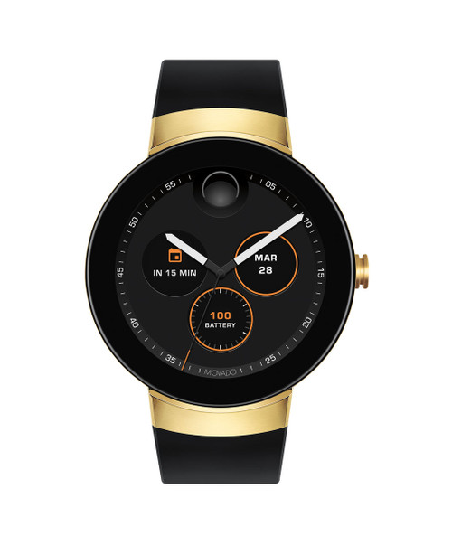 Movado Connect smartwatch, powered by Android Wear™, Android/iOS compatible, 46.5 mm gold ion-plated stainless steel case, round digital dial with edge to edge crystal, features over 100 customizable dial variations, displays phone call, appointment, email, Google Fit, apps, music, text and social media messages; equipped with Google Assistant; NFC enabled; charging cable for smart module; black silicone strap, gold ion-plated stainless steel buckle.