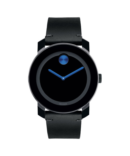 Large Movado BOLD watch, 42 mm black TR90 composite material and stainless steel case, black dial with tone-on-tone outer ring and cobalt blue sunray dot and hands, black Colorado bull hide leather strap with black tack-stitch detail and black ion-plated stainless steel buckle, K1 crystal, Swiss quartz movement, water resistant to 30 meters.