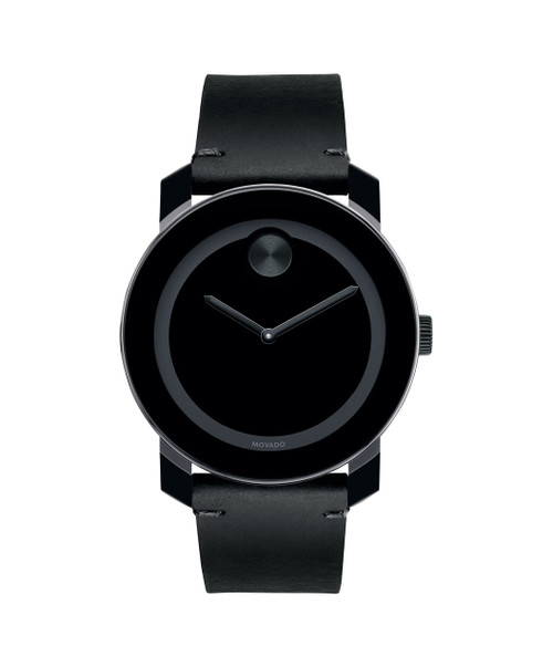 Large Movado BOLD watch, 42 mm black TR90 composite material and stainless steel case, black dial with matching sunray dot, hands and tone-on-tone outer ring, black Colorado bull hide leather strap with black tack-stitch detail and black ion-plated stainless steel buckle, K1 crystal, Swiss quartz movement, water resistant to 30 meters.