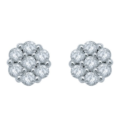 10K White Gold Diamond 1.00ct Flower Earrings