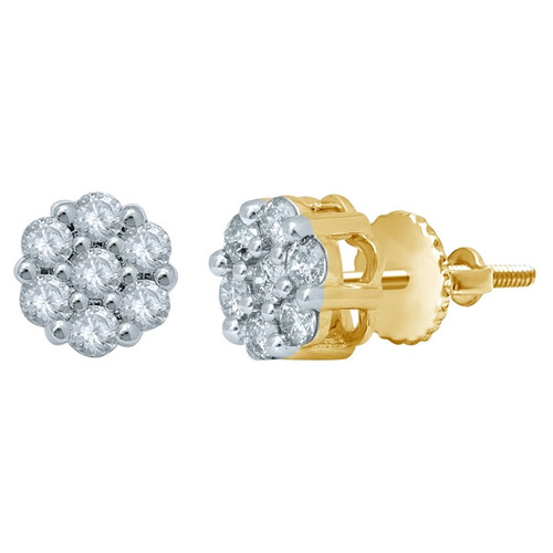 10K Yellow Gold Diamond 1.00ct Flower Earrings