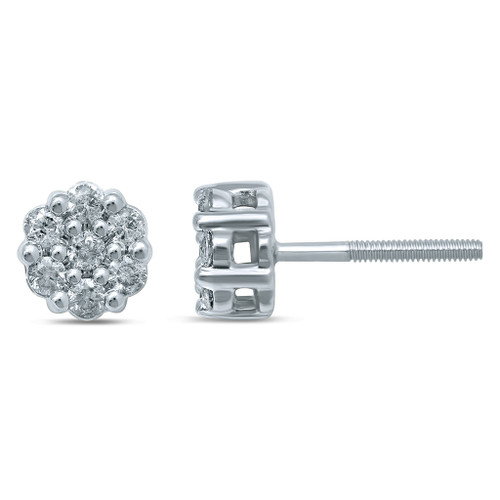 14K White Gold Diamond 0.50ct Flower Earrings