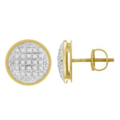 10K Yellow Gold  Round Diamond Micro Pave Earrings