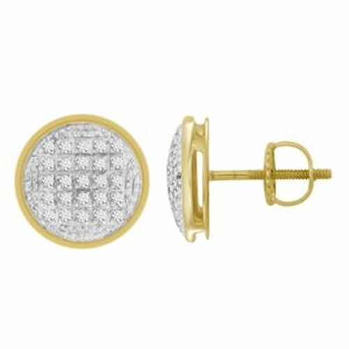 10K Yellow Gold  Round Diamond Micro Pave Earrings