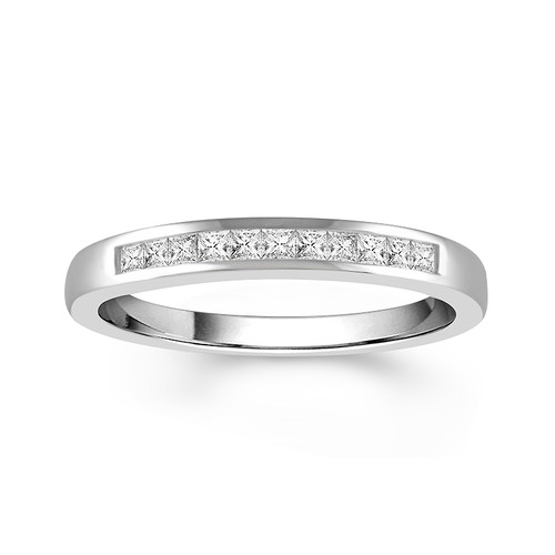 14K White Gold Princess Cut 0.30 Ct Women's Anniversary Channel Band