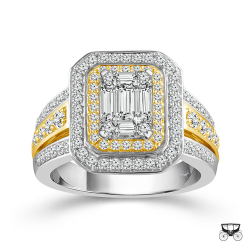 10K White With Yellow Gold 1.00 ct Women's Baguette Engagement Ring