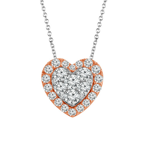 """10K White Gold with Rose Gold 3/8Ct Women's Heart Diamond Pendant with Complimentary 18"""" White Gold Chain"""