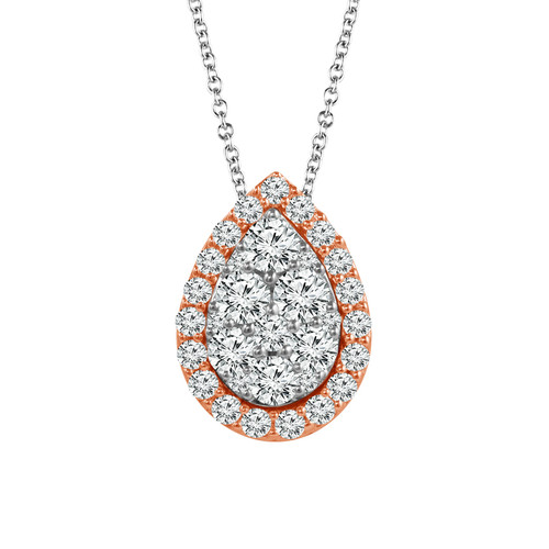 "10K White Gold with Rose Gold 3/8Ct Women's Pear Diamond Pendant with Complimentary 18"" White Gold Chain"