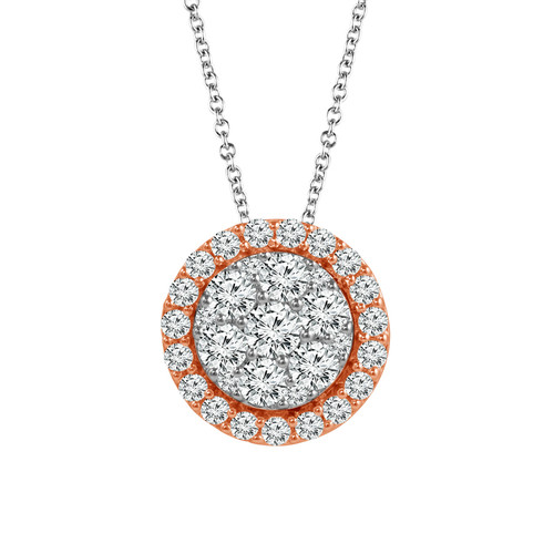 "10K White Gold with Rose Gold 3/8Ct Women's Round Diamond Pendant with Complimentary 18"" White Gold Chain"