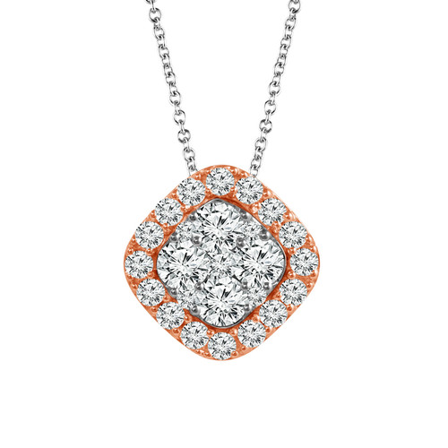 "10K White Gold with Rose Gold 3/8Ct Women's Cushion Diamond Pendant with Complimentary 18"" White Gold Chain"